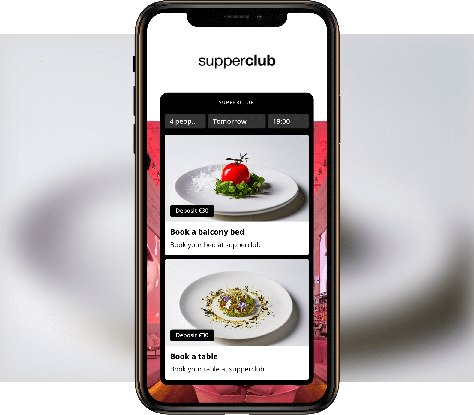 Examples of prepaid events from Supperclub in the Formitable widget