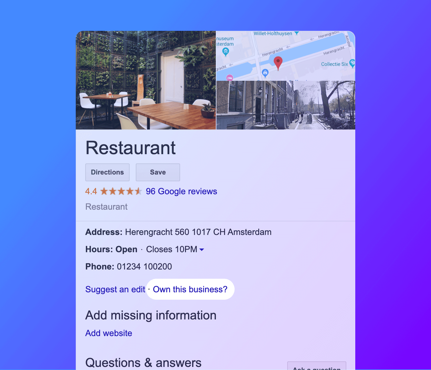 Screenshot of a unclaimed restaurant on Google