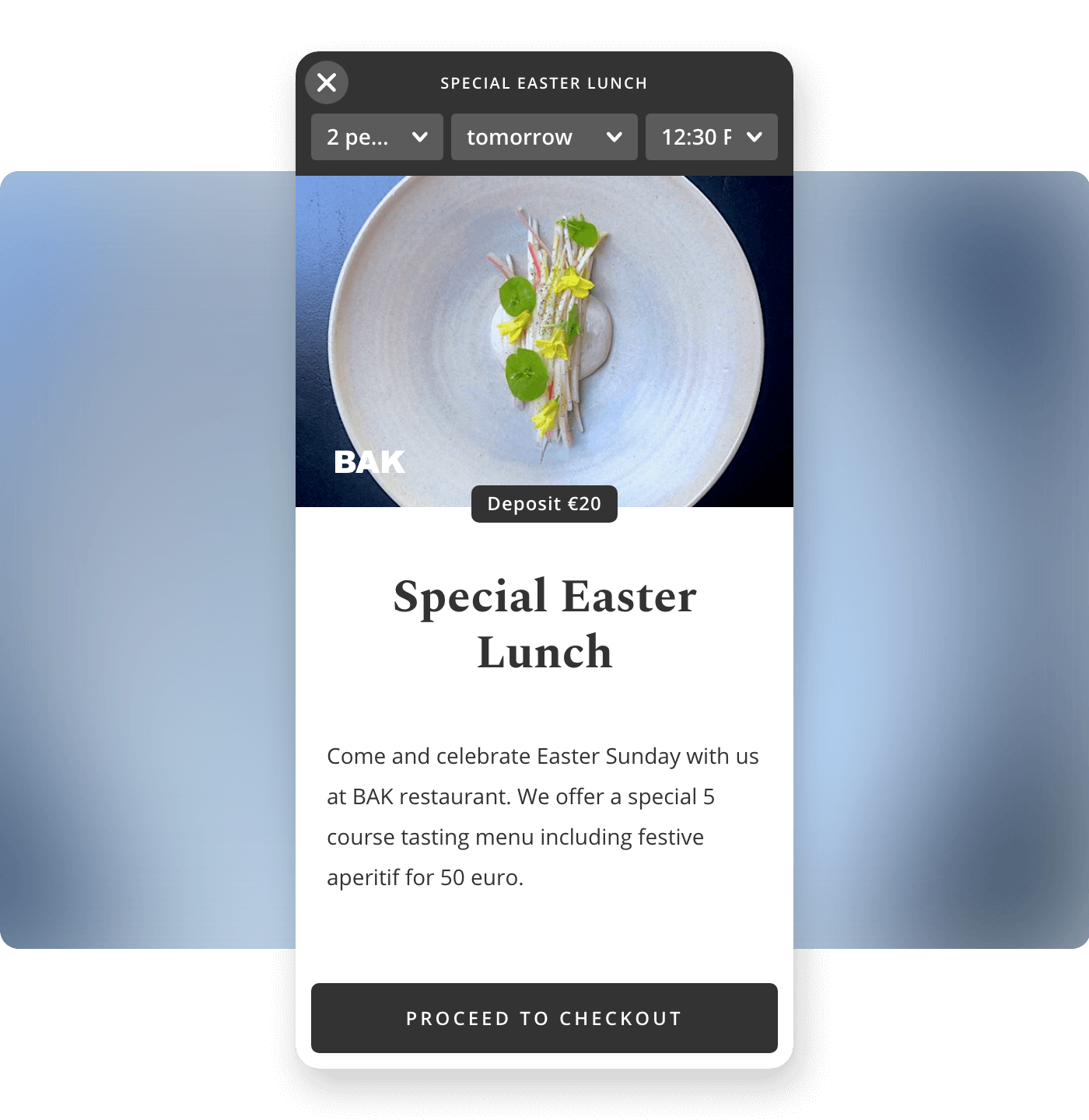 Screenshot restaurant BAK biedt event tickets in Formitable widget