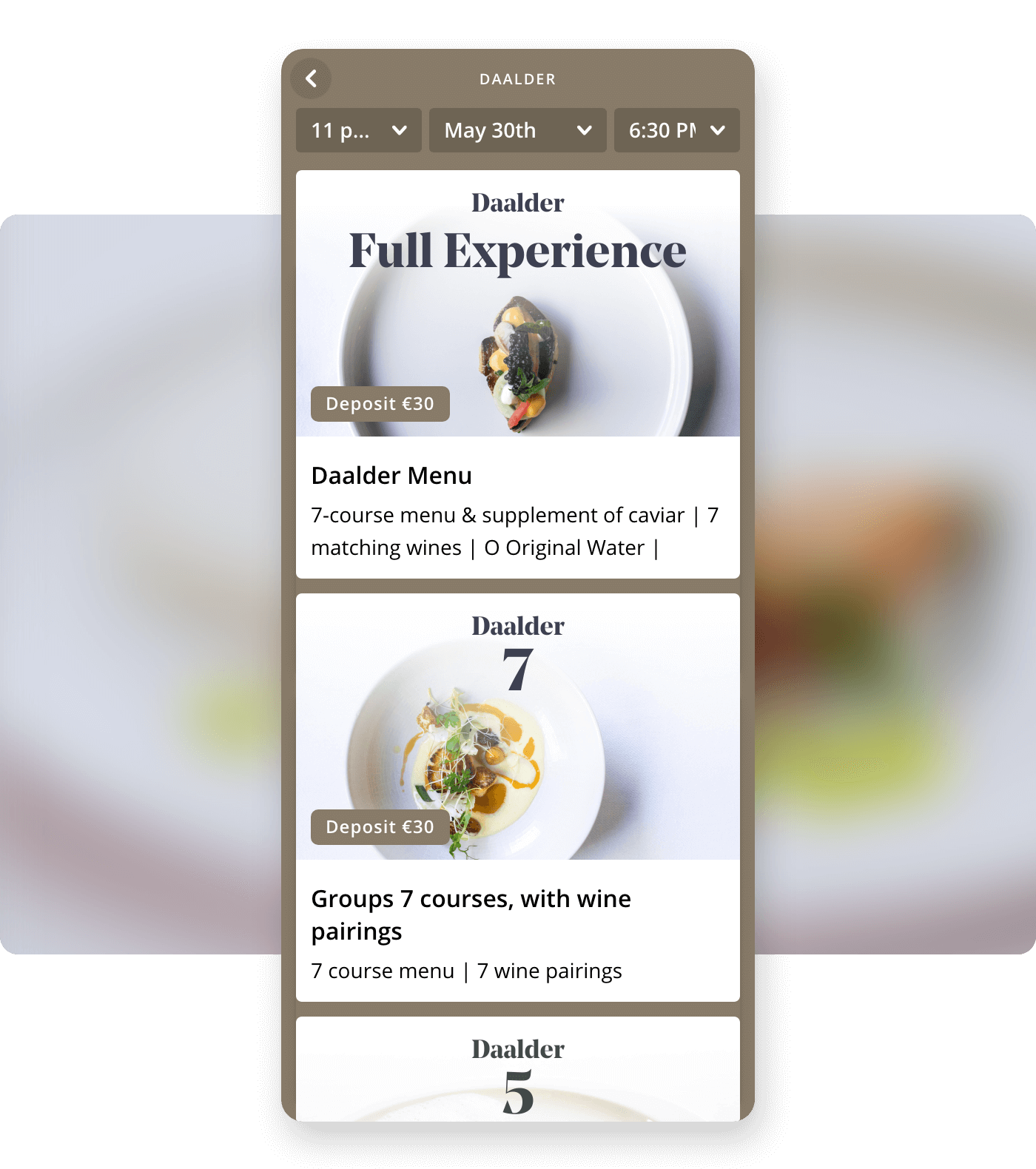 Screenshot restaurant Daalder offering group package tickets on Formitable widget