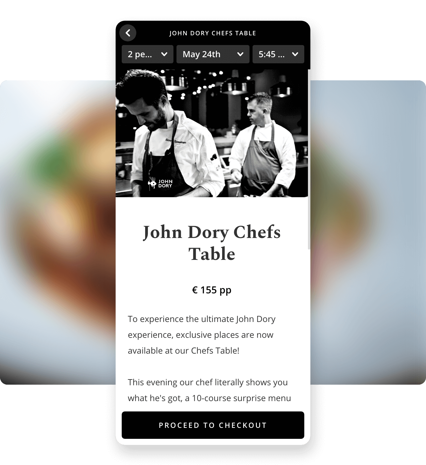 Screenshot John Dory offering chef's table tickets on Formitable widget