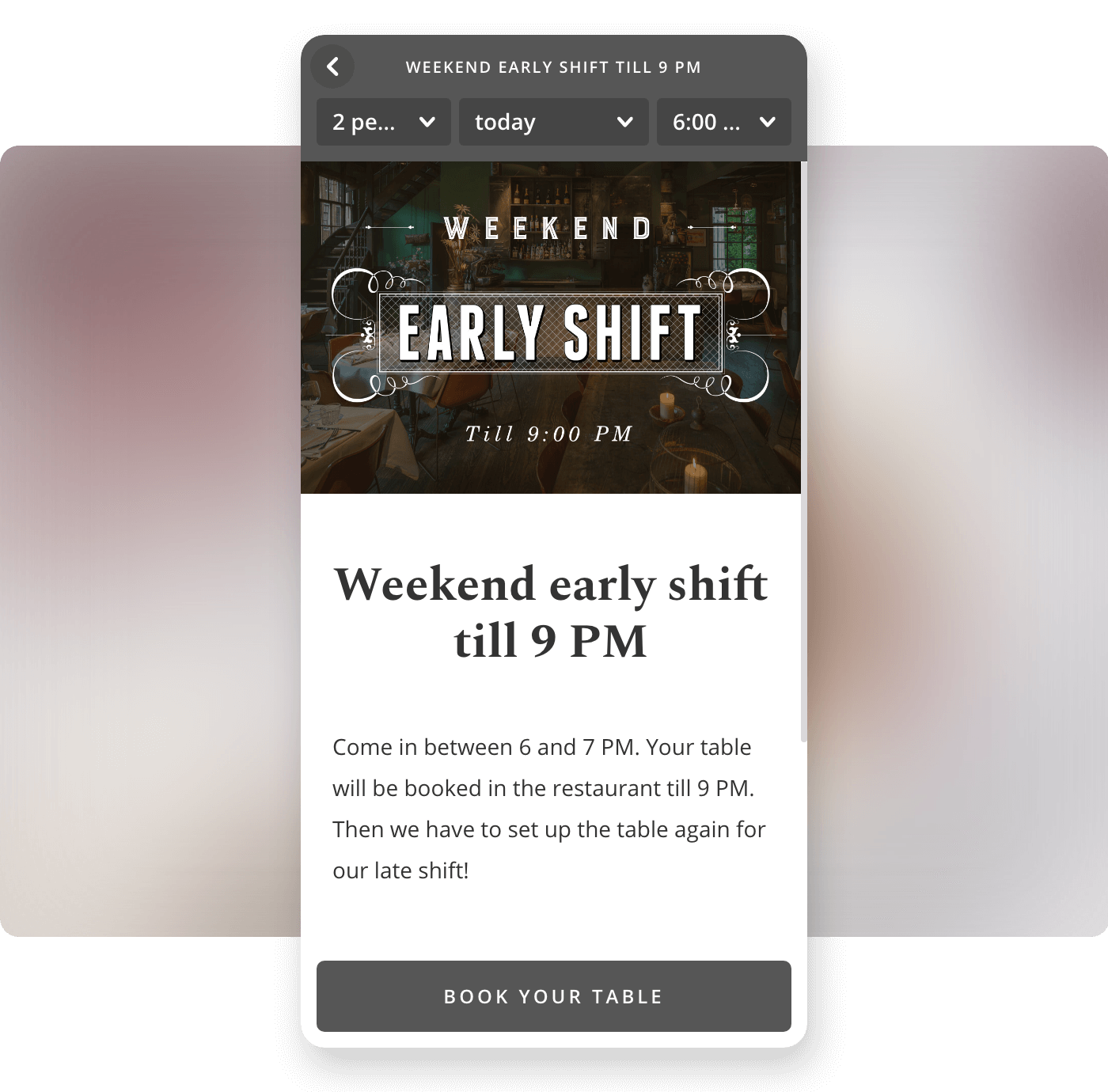Screenshot restaurant Lion Noir biedt early shift tickets in Formitable widget