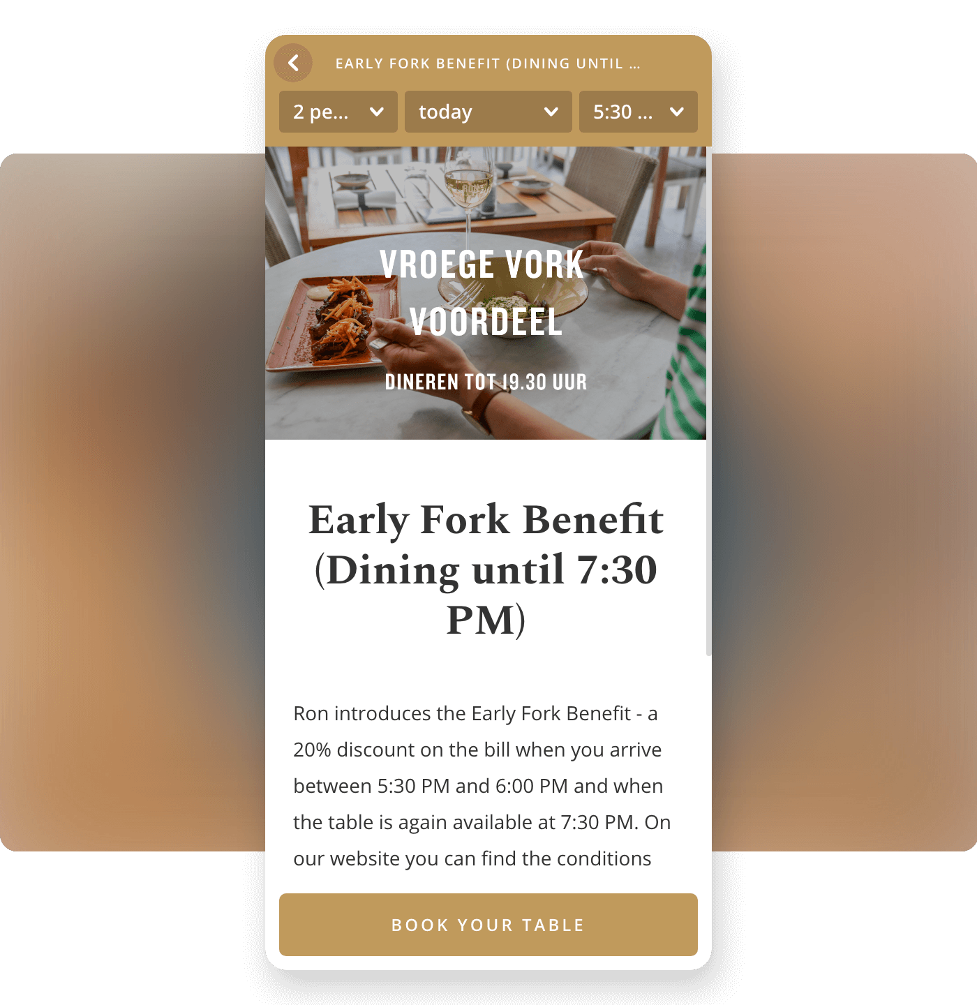Screenshot restaurant Ron Gastrobar offering early fork deal tickets on Formitable widget