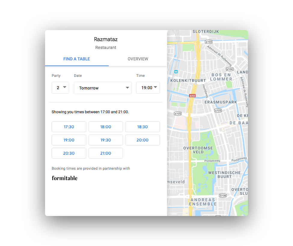 Reserve with Google maps finding table and available booking times