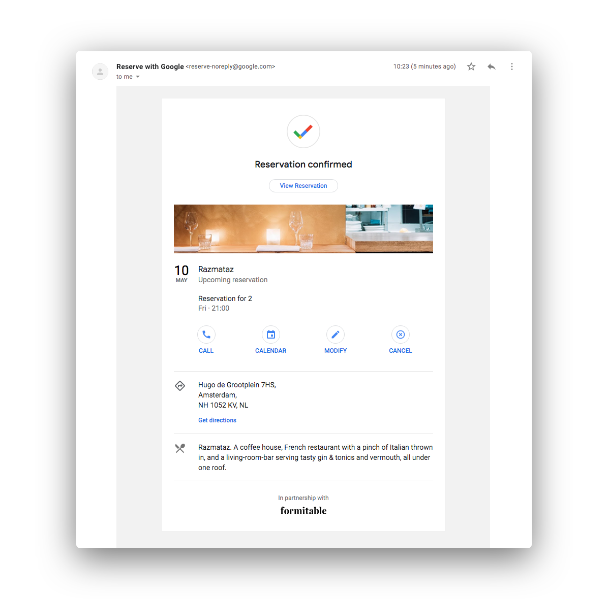Reserve with Google booking confirmation email from Razmataz
