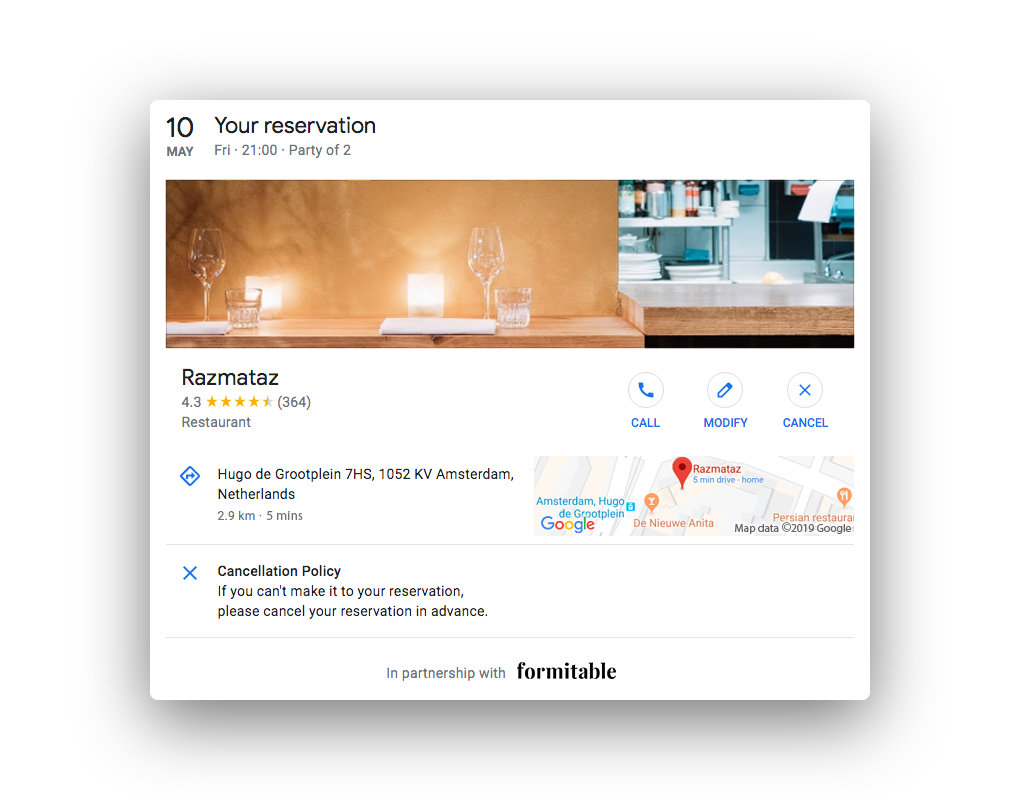 Reserve with Google modify reservation overview
