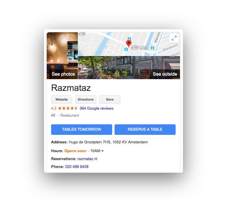 Reserve with Google maps Razmataz two reservation buttons in seartch results