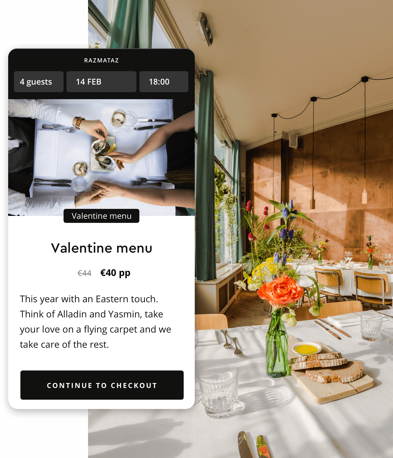 Reservation widget with a valentine ticket for restaurant Razmataz in Amsterdam
