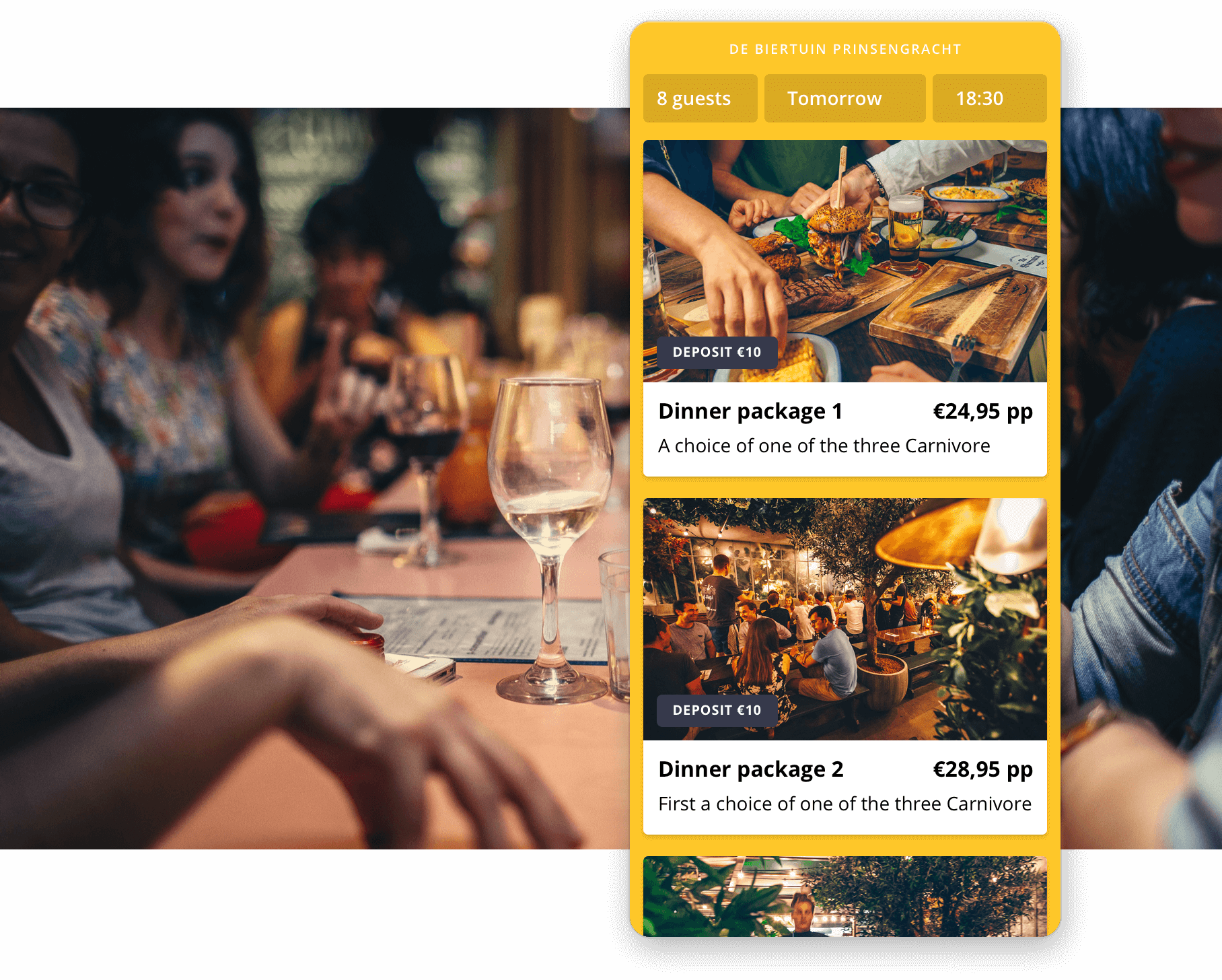 Examples of prepaid events from De Biertuin in the Formitable widget