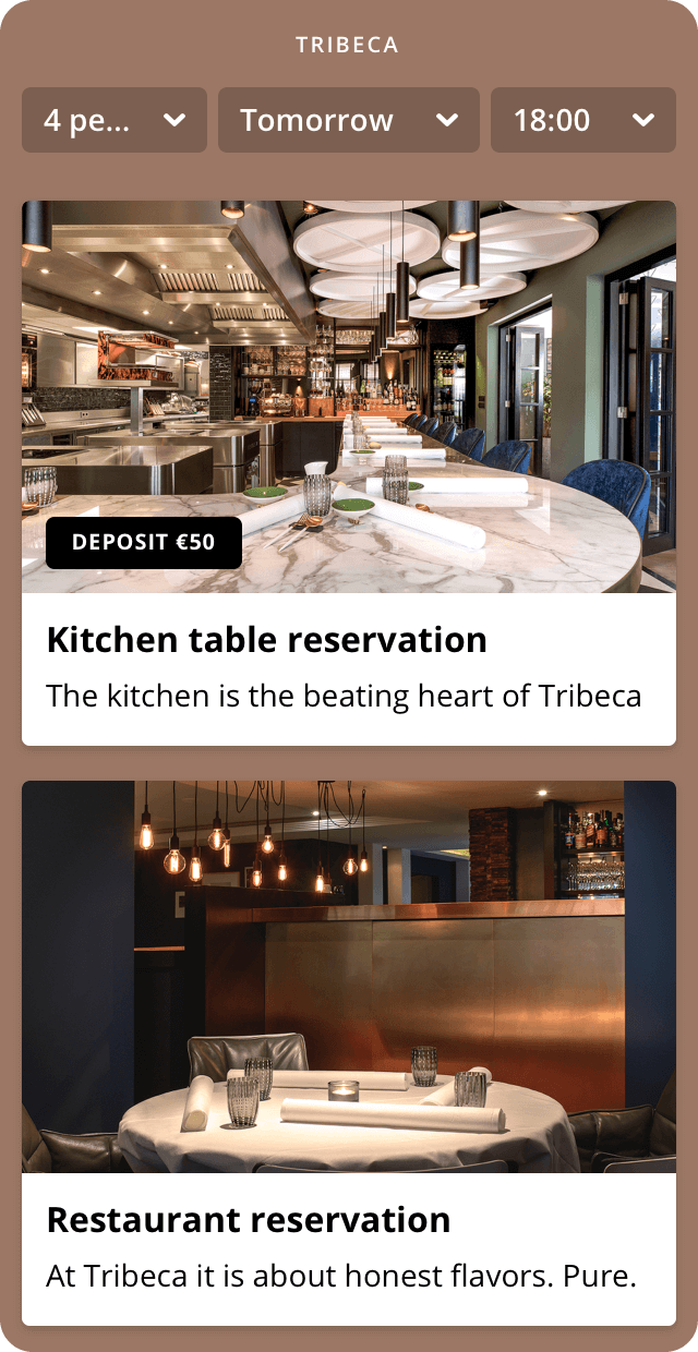 Restaurant Tribeca reservation widget with a kitchen table ticket and a restaurant ticket